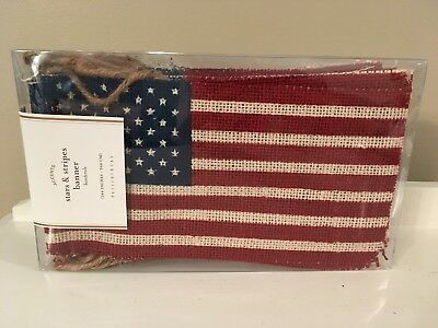 Pottery Barn AMERICANA Fourth of July STARS - STRIPES BANNER NWT