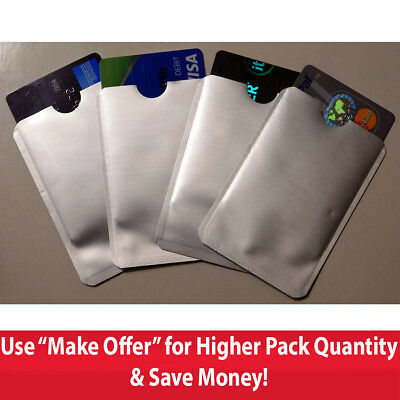 4 RFID BLOCKING SLEEVES Wallet Credit Card Protection Holder Sleeve Women Men