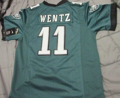 Philadelphia Eagles Carson Wentz Youth Large Sewn Green Game Jersey 11