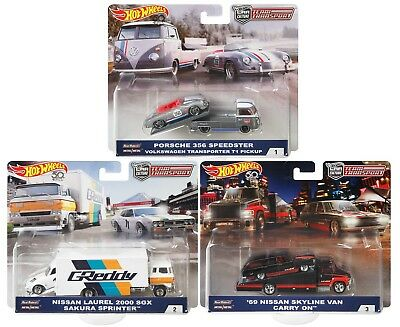 2018 Hot Wheels 50th Anniversary Car Culture Team Transport Set of 3 164 Scale