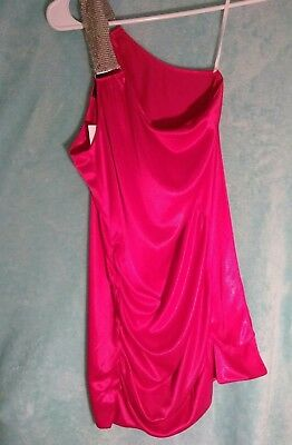 Wet Seal Juniors Ladies Pink Stretch Ruched One Shoulder Silky Tank Top Cami M