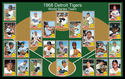 DETROIT TIGERS 1968 World Series Team Custom POSTER Decor Al Kaline Norm Cash 68