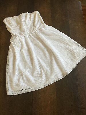 WET SEAL WHITE CROCHET TUBE STRAPLESS DRESS SIZE SMALL NEW W TAG