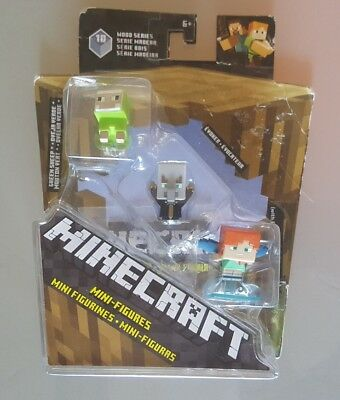 Minecraft Wood Series 10 mini-figures 3-pack GREEN SHEEP EVOKER ALEX w Elytra