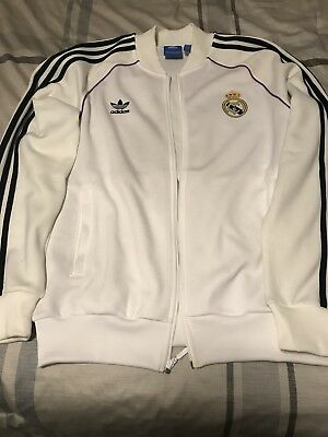 ADIDAS Track REAL MADRID Velour LARGE Jacket Soccer Football VINTAGE