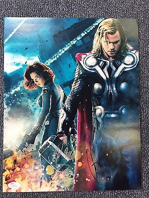 Avengers Scarlett Johansson Chris Hemsworth Dual Autographed 11x14 Photo JSA COA