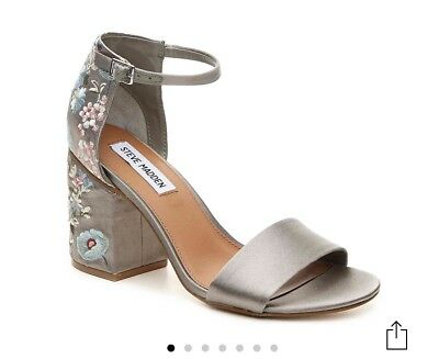 Steve Madden Rania Grey Satin Block Heel Sandals Size 6-5