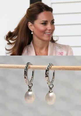 Kate Middleton Favorite Pearl Earrings - Sim Round Perfect pearl - Silver 081