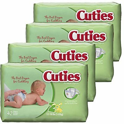 2-CASES Cuties Baby Diapers Size 2 42-Count Pack of 4 336 Diapers
