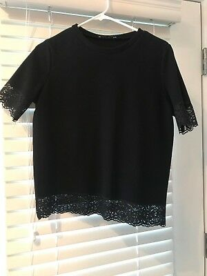 Zara Black Lace Trim Tee - Size L