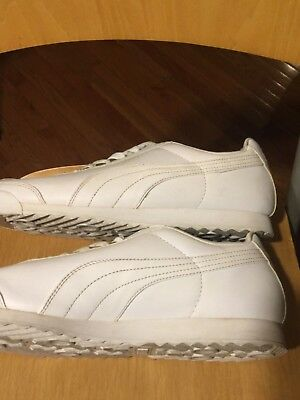 Puma Roma Basic Casual Sneakers Leather White Grey Mens Size 11