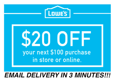 THREE 3x Lowes 20 OFF 100 Promotion Discount - In storeonline - Fast Shipment