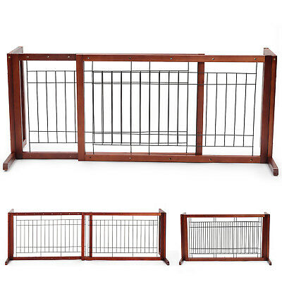 New Solid Wood Pet Fence Adjustable Dog Gate Free Standing Indoor Safe Playpen