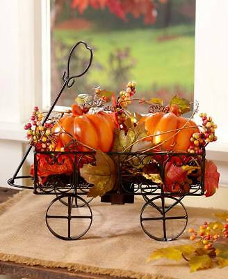Lighted Harvest Pumpkin Cart Wagon Fall Autumn Thanksgiving Seasonal Home Decor
