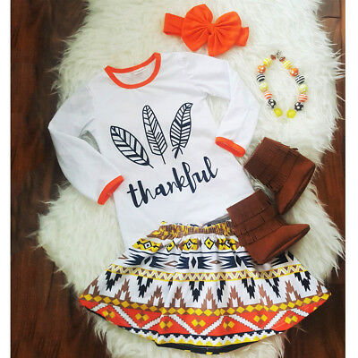 US Seller Toddler Kid Baby Girls Thanksgiving Tops T-shirt Skirt Headband Outfit