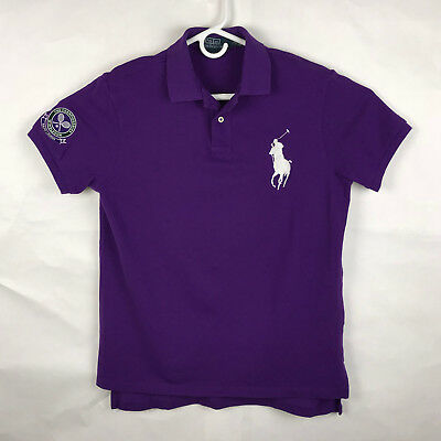 Ralph Lauren Mens Purple Custom Fit Polo with Big Pony Wimbledon 2013 Large