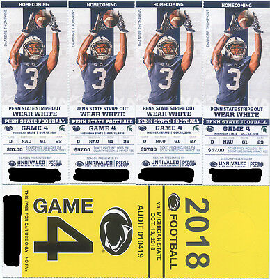 4 Penn State vs Michigan State Football Tickets wYellow Parking Pass 101318