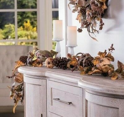 Thanksgiving Autumn Harvest Fall Pumpkin Floral Garland Mantle Decoration 6L