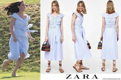 Zara Striped Off The Shoulder Dress BlueWhite Worn By Kate Middleton Sold Out
