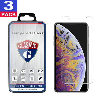 3-Pack Glasave Tempered GLASS Screen Protector For iPhone X  XS  XR  XS Max