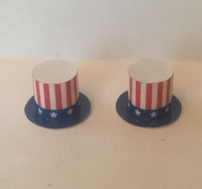 Dollhouse Miniature 2 4th Of July Top Hat Decor Patriotic American Flag