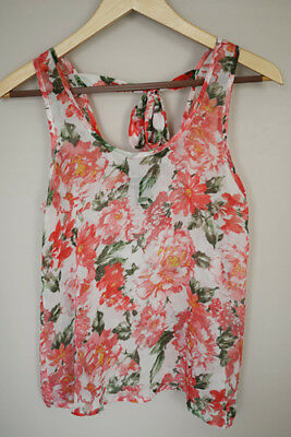 Wet Seal  Tank Top Size XS Floral Pink Stretch Womens