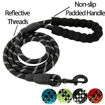 5 FT Service Dog Rope Leash Lead Training Padded Handle Reflective Nylon Puppy L