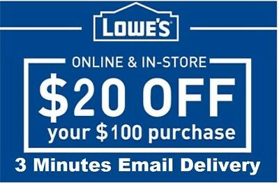 Three 3x Lowes 20 OFF 100 InStore and Online3Coupon-Fast Delivery-EXP 93018
