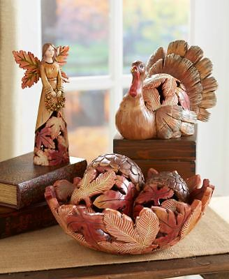 Harvest Leaf Collection Angel Acorns Bowl Turkey Thanksgiving Fall Home Decor