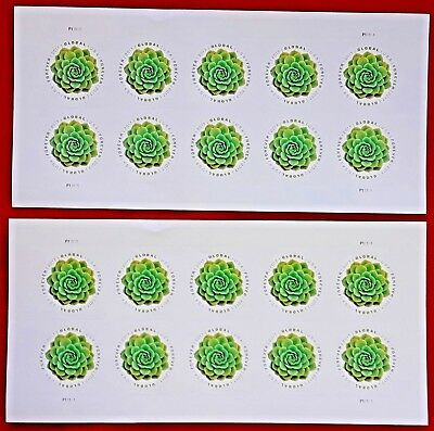 Two sheets of 2017 GREEN SUCCULENT 1-15 Global Forever US Postage Stamps 5198