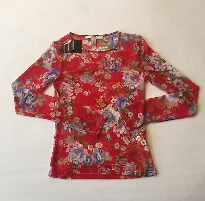 Forever 21 Womens Size Small Long Sleeve Shirt Shear Red Floral New With Tags