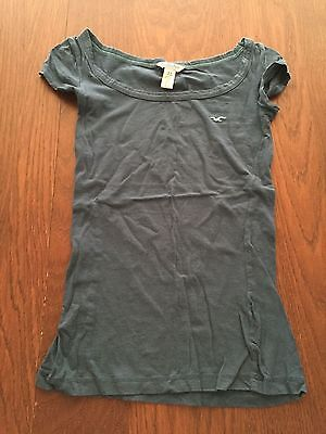 Hollister Co Dark Grey T-Shirt blouse top womens cap sleeve gray stretchy basic
