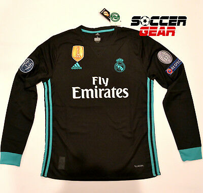 Real Madrid Away Black Jersey Champions League Edition 1718 Long Sleeve