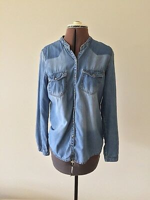 FOREVER 21 Denim Acid Wash LS Distressed Button Down Blouse- M