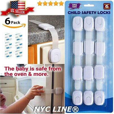 6 Pack Child Baby Safety Locks Box Drawer Cupboard Cabinet Wardrobe Door Fridge