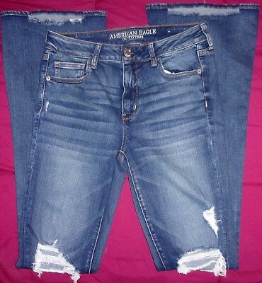 AMERICAN EAGLE OUTFITTERS SUPER STRETCH X HI-RISE SLIM FLARE JEANS SIZE 10 XLONG