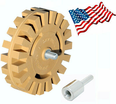 Decal Removal Eraser Wheel Tool with Drill Arbor Adapter 4 inch Rubber Pinstripe