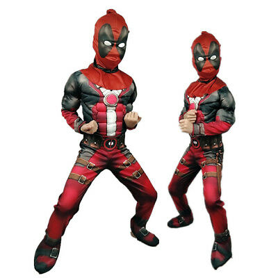 Boys Deluxe Marvel Deadpool Muscle Kids Halloween Party Costume Cosplay