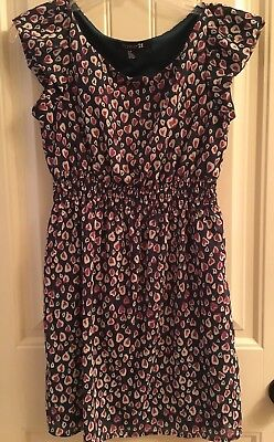 FOREVER 21 Hearts Print On Green Tunic Dress SMALL- Preowned