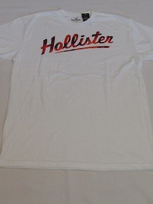 NEW MEN'S HOLLISTER CO- SHORT SLEEVE GRAPHIC T-SHIRT WHITE SIZE LARGE