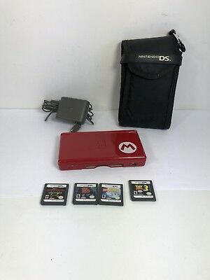 Nintendo DS Lite Red Mario Edition bundle with charger and games