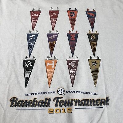 Vintage 2015 SEC Baseball Tournament Team Pennants T Shirt  White  Men's XXL