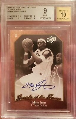 200910 UD Greats Of The Game LeBron James Auto BGS Mint 9 w 10 Auto SP Lakers