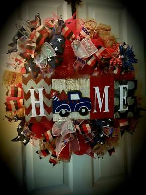 Large Patriotic Wreath Fourth of July Wreath Memorial Day Mesh Home wreath