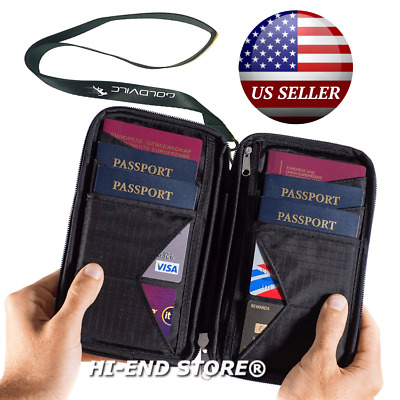 Travel Wallet - Family Passport Holder w RFID Blocking Document Organizer Case