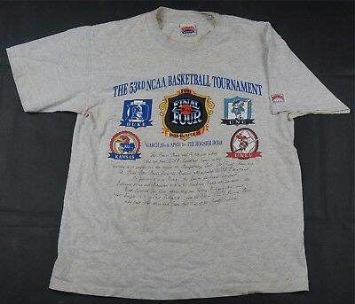 Rare VTG NUTMEG UNC Duke UNLV Kansas 1991 Final Four T Shirt 90s March Madness L
