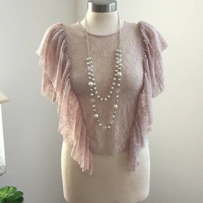 Zara WB Collection Womens Blush PInk Lace Ruffle Top Size Small Feminie Blouse