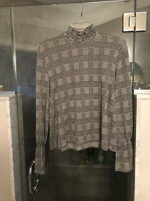 Zara trafuluc gingham Long Belle sleeve black white check top blouse Small