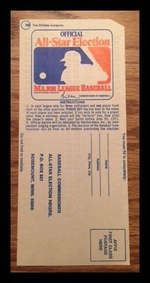 1971 MLB All-Star Baseball Game Ballot w Yankees - Mets players unpunched