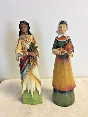 Pilgrim Indian Woman Figure Thanksgiving Table Top Decor Wood Wooden  8